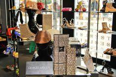 "Giorgio Armani ""Sabbia"" shoes & accessories in ELITE Accessories in Puerto Banús. In the background: Pollini, Pierre Hardy, Simone Rocha, Givenchy, Emilio Pucci, Charlotte Olympia, Balmain and Alexander McQueen. http://www.elitestore.es/"