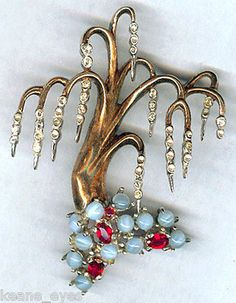 Vintage Reja Sterling Rhinestone Weeping Willow Tree Brooch Pin | eBay