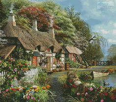 Riverside Home in Bloom cushion cross stitch chart