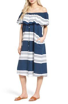 Main Image - FAITHFULL THE BRAND Majorca Stripe Off the Shoulder Dress
