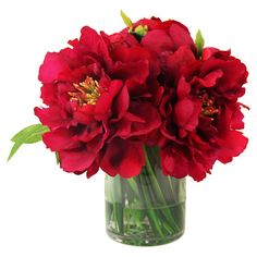 Create a lush tablescape or charming vignette with this lovely faux peony arrangement, showcasing vibrant blossoms nestled in a timeless glass vase....