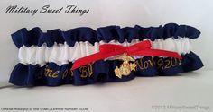 Marine Corps Ball Keepsake Garter with Gold by MilitarySweetThings - I love my Marine, USMC Dress Blues