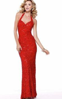 Red Mermaid/Trumpet Halter Natural Long/Floor-length Sleeveless Sequins Backless Prom Dresses Dress