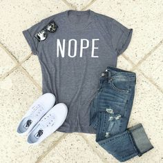 {the kris collection} the nope tee. $21 the pacific cuffed skinny jeans. $44 the reva reflective sunnies. $16 http://ilivluvshop.com/collections/the-kris-collection