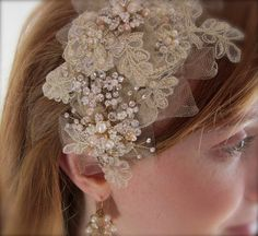 Vintage Inspired Champagne Lace Crystal Retro by BestDayBridal