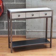 Mobilier design console métal tiroir