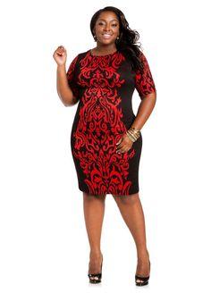 Baroque Plus Size Sweater Dress from Ashley Stewart  on The Curvy Fashionista