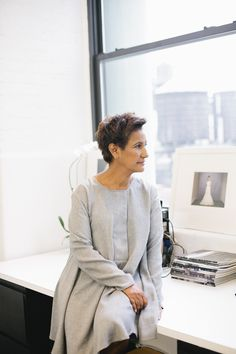 Bridal designer Amsale Aberra at her office in Manhattan's Garment District.