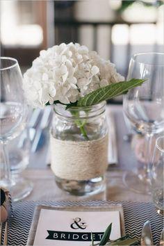 Image result for single stem blue hydrangea centerpiece jar