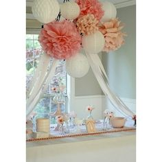 pom poms and lanturns,,lov these except White and silver!