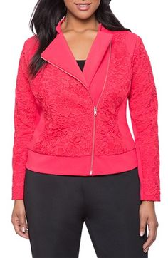 Plus Size Fashion for Women - Plus Size Lace Biker Jacket