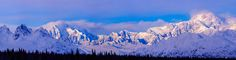 Alaska Range Panorama includes Mt Hunter and Denali/Mt McKinley