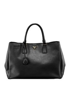 Saffiano Lux Top Handle Tote, Black (Nero) by Prada at Neiman Marcus.