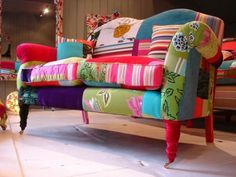 Another colorful example of patchwork upholstery. I need to get cracking!