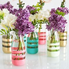 Upcycle bottles into colorful vases with this simple technique