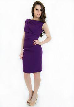 awear-purple-party-dress Purple Party Dress, High Neck Dress, Dresses For Work, Image, Collection, Fashion, Turtleneck Dress, Moda, Purple Evening Dress