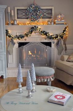 Christmas Open House~A Pastel Christmas - All Things Heart and Home Christmas Open House, Christmas Fireplace, Christmas Mantels, Noel Christmas, Christmas Ideas, White Christmas, Christmas Christmas, Christmas Trimmings, Christmas Crafts