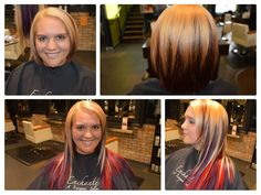 Human hair extensions. Blonde, red, and purple hair. From Short hair to long hair. Cinderella hair extensions.