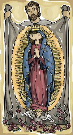 St. Juan Diego and Our Lady of Guadalupe Art Print 8 x 10