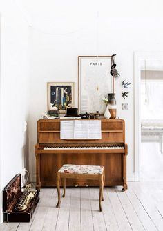 small vintage piano with vintage decor on #top / sfgirlbybay