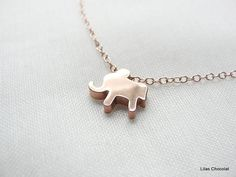 Elephant Necklace gold or silver by LilasChocolatFrance on Etsy, $14.00