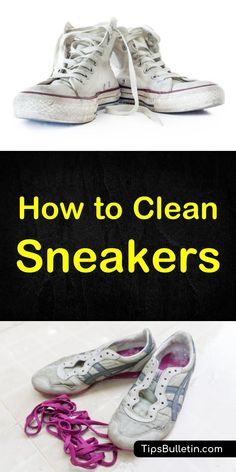 How to clean sneakers - includes tips on cleaning shoes, shoelaces, and even suede sneakers. Also shows you how to dry sneakers and why you should never put your shoes in the dishwasher. #cleansneakers #cleaning