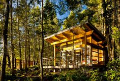 Weekend Cabin by Mark Osburn.I heard another architect say lately that the cabin form is the vernacular architecture of British Columbia, and that is probably true. Mark's cabin approaches the Ur example of that form. So many of these island cabins are overdone, full of formal awkwardness, ill proportions, fussiness or materials unbefitting the surroundings. It's amazing how often they are done badly. This one however feels as if it belongs in our particular Pacific Northwest rainforest.