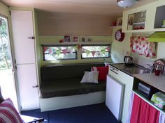 """""""Millie"""" after being made over by Lesley.  She retained the old green vinyl upholstery as a nod to its past history."""