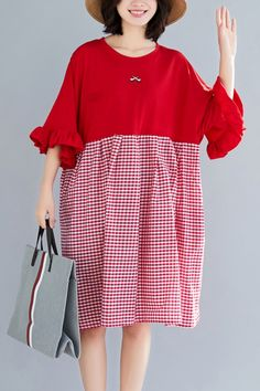 aedf7617694 Natural o neck Butterfly Sleeve Cotton clothes Omychic Outfits red Plaid short  Dresses Summer · Cotton Wedding DressesLinen ...