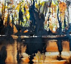 David Muddyman - Memories of Rydal Water I (Indian & Burnt Sienna Ink with Watercolour 27cm x 25cm on Saunders Waterford rough 200lb)