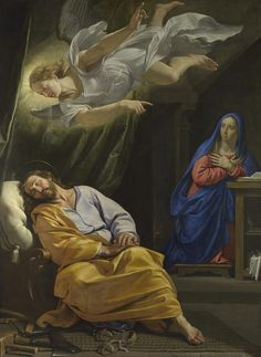 """michelangelogallery: """" Dream of Saint Joseph by Philippe de Champaigne 1643 National Gallery Nativities These events must have come as quite a shock for Joseph, thrust into the role of earthly father to the Son of God. Saint Matthew's gospel. Catholic Art, Catholic Saints, Religious Art, St Joseph, Philippe De Champaigne, Image Jesus, National Gallery, Religious Pictures, Blessed Virgin Mary"""