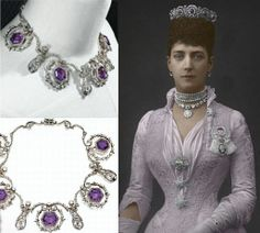 Amethyst necklace/tiara belonging to Queen Alexandra, wife of Edward VII (1901-1910) The tiara is of foliate garlands decorated with 5 hexagonal amethyts set as swing centers within circular wreaths, alternating with pear-shaped scrolls, set with 13 European-Cut diamonds weighing approx. 8.5 carats, 69 European-Cut diamonds weighing approx. 10 carats, rose-cut diamonds, weighing another 5 carats approx., numerous smaller diamonds, mounted in silver and gold.
