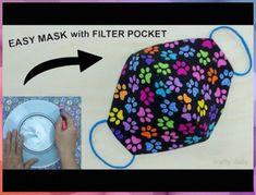 Easy Face Masks, Diy Face Mask, Sewing Patterns Free, Sewing Tutorials, Sewing Diy, Costura Diy, Diy Masque, Fabric Art, Diy Crafts For Kids