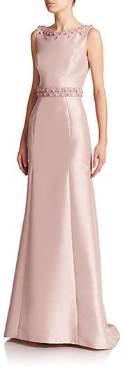 Theia Beaded Boatneck Gown