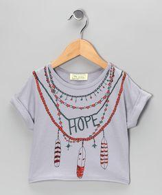 Little Society Gray 'Hope' Organic Tee - Girls  #zulily #fall