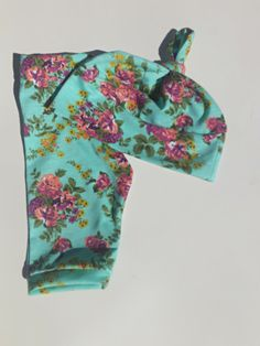 Aqua Green Purple Pink Florals Handmade Leggings Hat Set