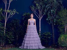 Hamda AlFahim 2016 Ruffled Lavender Plissé Tulle Layered Dress