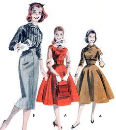 1950s Dress Pattern Butterick 7905 Empire Waist Dress Jumper Bolero Sheath Full Skirt Dress Peter Pan Collar Vintage Sewing Pattern Bust 32