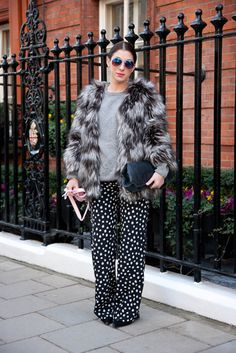 Spots and fur - London fashion week A/W 2013 street style - Vogue Australia