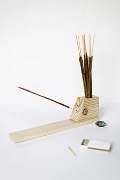 Incense Holder By The MerrythoughtThis handsome, wooden holder gives stray incense — preferably campfire-scented, like blogger Caitlin's — a proper home. #refinery29 http://www.refinery29.com/summer-diy-projects#slide-19