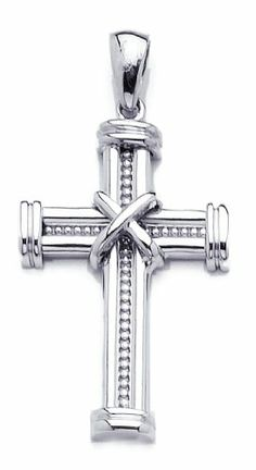 Amazon.com: 14k White Gold Religious Necklace Charm Pendant, Beaded Cross With X Center, Hig: Million Charms: Jewelry