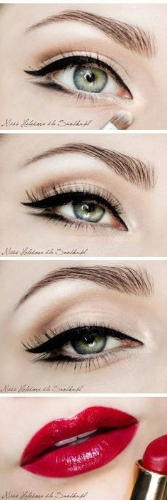 Classic makeup - bold lips and eyeliner