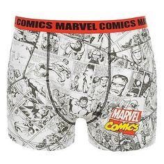 08b003fe7 Marvel Comics Boxer Shorts Underwear Mens White Black Red Trunks Pants