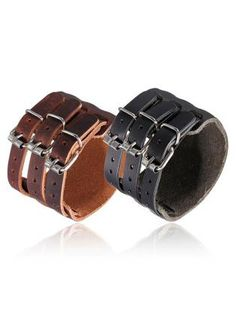 Men Punk Leather Bracelet 3 Buckle Wristband Cuff Bangle Gift
