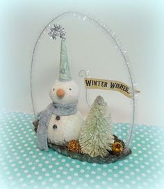 Winter WISHES Vintage Inspired Snowman Folk Art Figurine on Embossed French Tart Tin Christmas Decoration