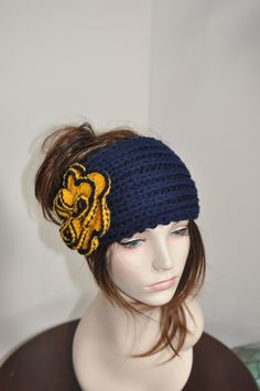 low cost 2cf0e 45759 University of Michigan Hat Big Bow Ear Warmer Headband KnitCHOOSE COLOR  Navy Yellow Michigan Wolverines Ear Warmer Christmas Gift