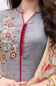 Top 50 Stylish And Trendy Kurti Neck Designs That Will Make You Look All The More Graceful Chudidhar Neck Designs, Salwar Neck Designs, New Kurti Designs, Neck Designs For Suits, Sleeves Designs For Dresses, Neckline Designs, Dress Neck Designs, Stylish Dress Designs, Kurta Designs Women