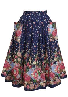 40s Dirndl Skirt - Midnight Flora - Fashion 1930s, 1940s & 1950s style - vintage reproduction