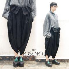 COMME DES GARCONS SS2006 'Lost Empire' Black Wool Sarouel Trousers Sz S #CommedesGarons #CasualPants