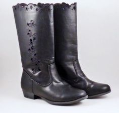 Dream-Out-Loud-by-Selena-Gomez-Boots-Womens-Sz-7-Black-Flat-Mid-Vegan-Lacey